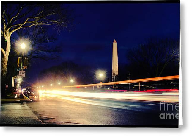 Washington Monument On A Rainy Rush Hour Greeting Card