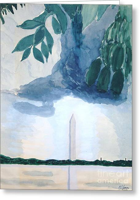 Greeting Card featuring the painting Washington Monument by Rod Ismay