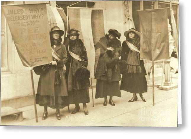 Washington Suffragettes Picketing In New York City Greeting Card by Padre Art