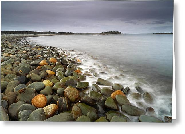 Ancient Stones And Serene Sea Greeting Card by Scott Leslie