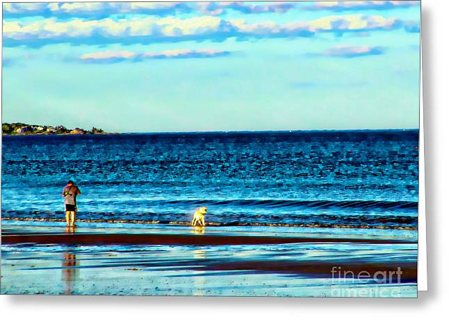Water Dog From Dog Park Beach Series Greeting Card by Alene Sirott-Cope