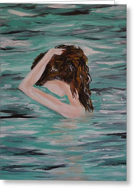 Water Envy Greeting Card by Leslie Allen