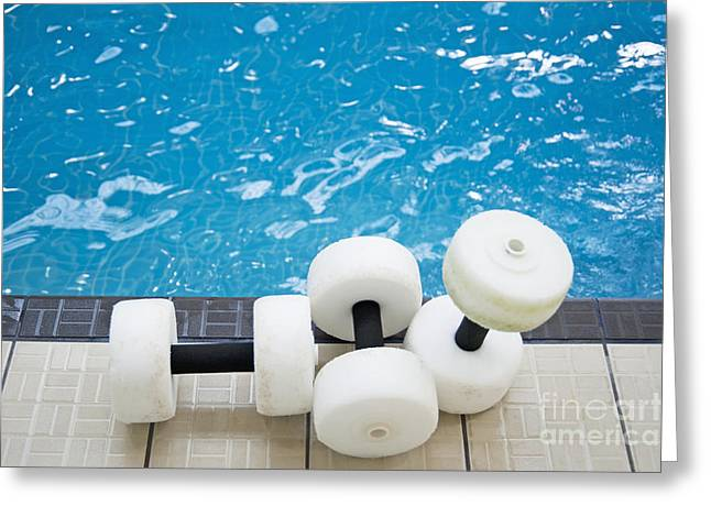 Water Floats At Poolside Greeting Card by Marlene Ford
