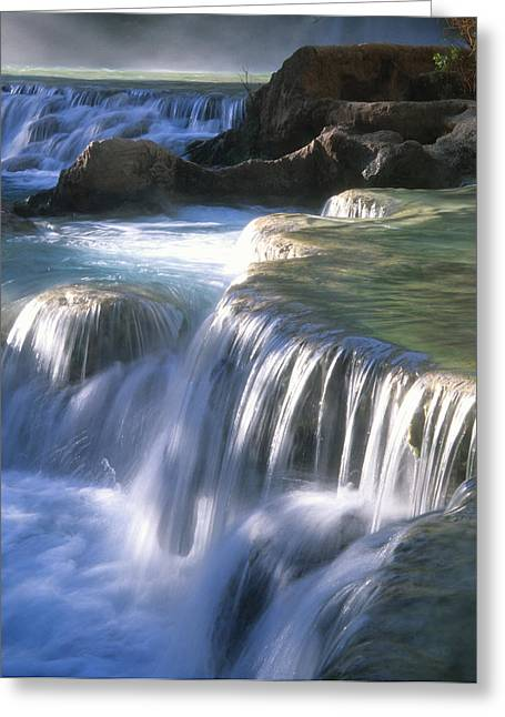 Water Flowes Over Travertine Formations Greeting Card by Bill Hatcher