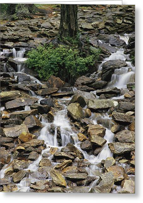 Water Flows Down A Rocky Hillside Greeting Card