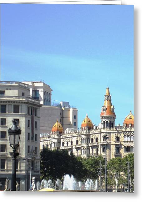 Water Fountain And Architecture In Barcelona Spain Greeting Card by John Shiron