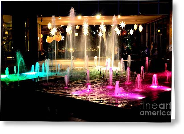 Water Fountain With Stars And Blue Green With Pink Lights Greeting Card