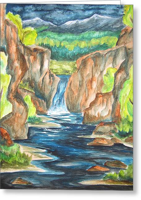 Greeting Card featuring the painting Water From The Rockies by Cheryl Pettigrew
