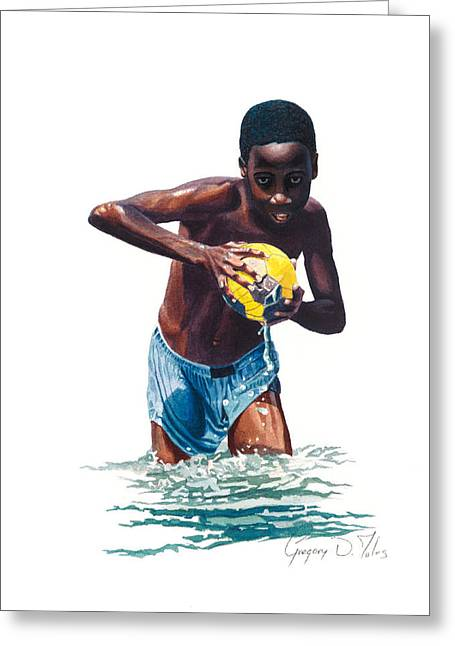 Water Game Greeting Card by Gregory Jules