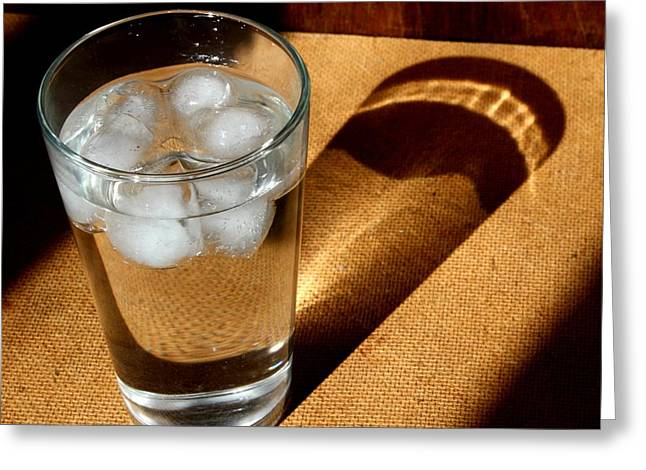 Water Glass In Sun Light Greeting Card by Unknown