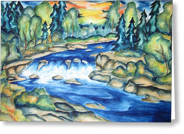 Greeting Card featuring the painting Water In The Gunnison Valley by Cheryl Pettigrew