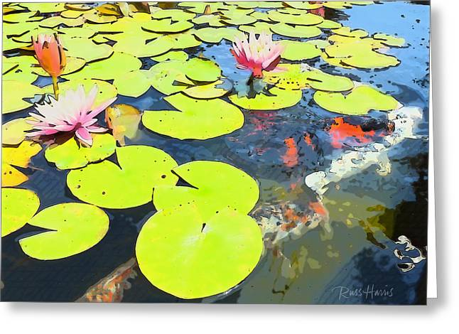 Water Lilies And Koi Greeting Card by Russ Harris