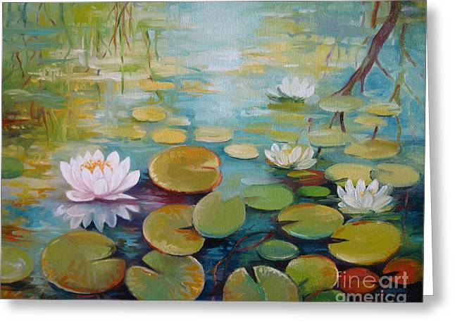Water Lilies On The Pond Greeting Card