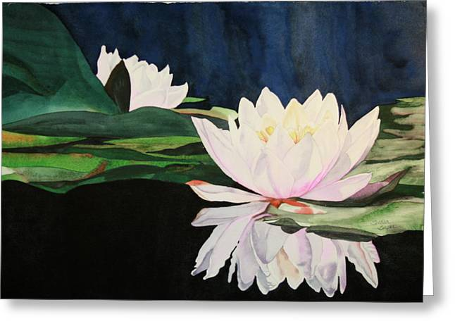 Greeting Card featuring the painting Water Lillies by Teresa Beyer