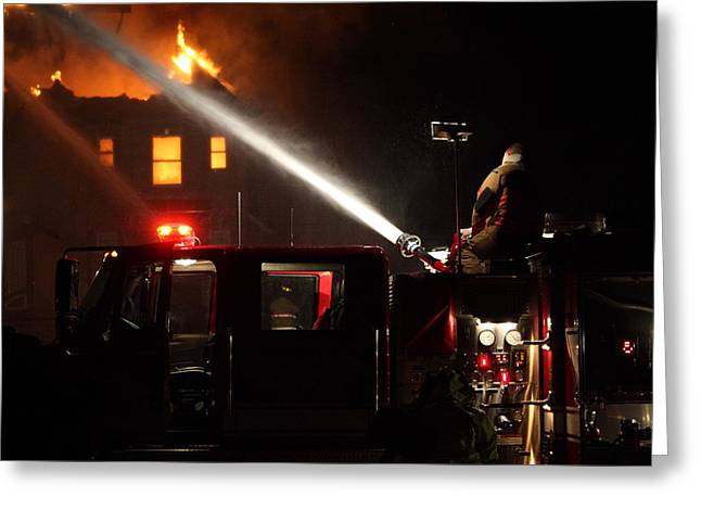Greeting Card featuring the photograph Water On The Fire From Pumper Truck by Daniel Reed