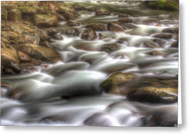 Water On The Rocks Greeting Card by Barry Jones
