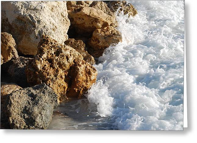 Water On The Rocks Greeting Card by Carrie Munoz
