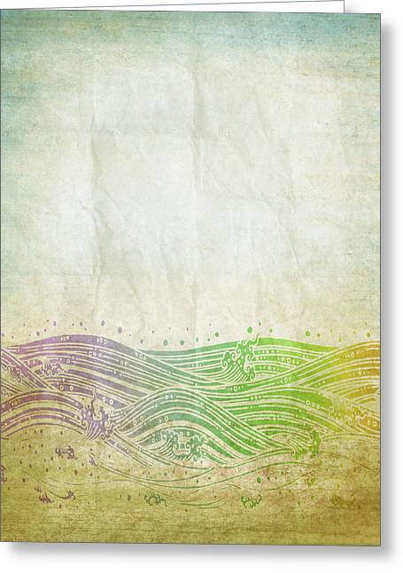 Water Pattern On Old Paper Greeting Card
