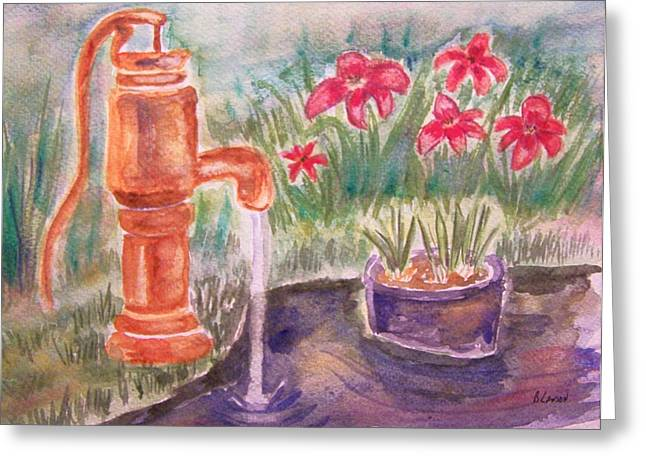 Greeting Card featuring the painting Water Pump by Belinda Lawson
