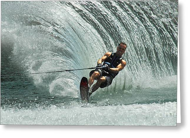 Water Skiing Magic Of Water 10 Greeting Card by Bob Christopher