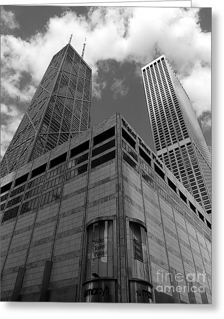 Water Tower Place And John Hancock Greeting Card by David Bearden