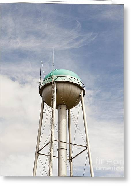 Water Tower With A Cellphone Transmitter Greeting Card