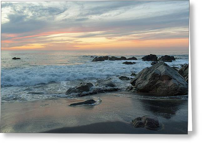 Water Washing Up On The Beach Greeting Card by Keith Levit