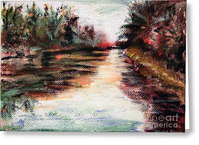Water-way Oil Painting Greeting Card by Isabella F Abbie Shores FRSA