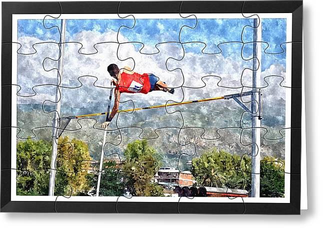 Watercoler Puzzle Design Of Pole Vault Jump Greeting Card by John Vito Figorito