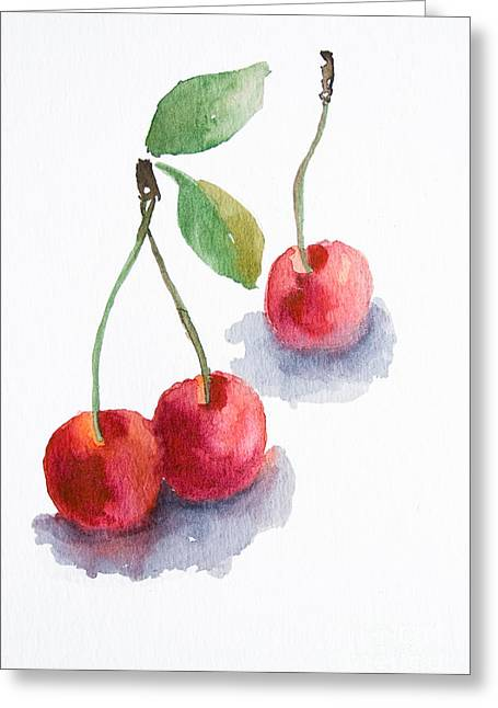 Watercolor Cherry  Greeting Card
