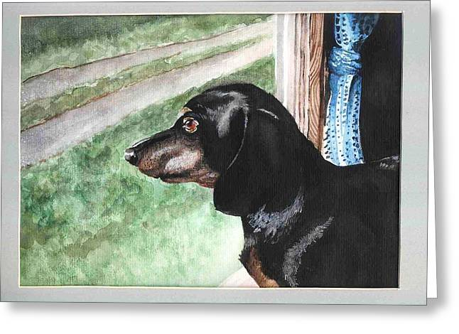 Watercolor Dog Greeting Card by Kyle Gray