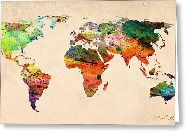 Watercolor World Map  Greeting Card by Mark Ashkenazi