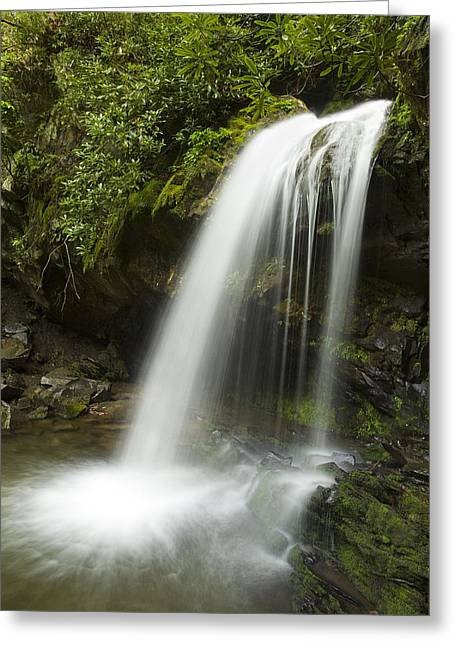 Waterfall At Springtime Greeting Card by Andrew Soundarajan