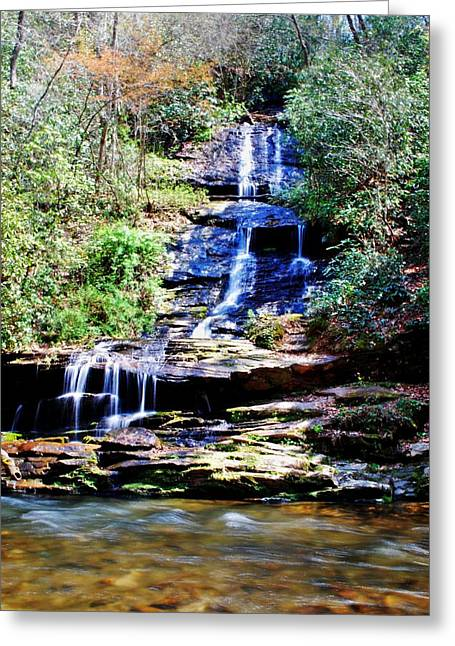 Waterfall Greeting Card by Carrie Munoz