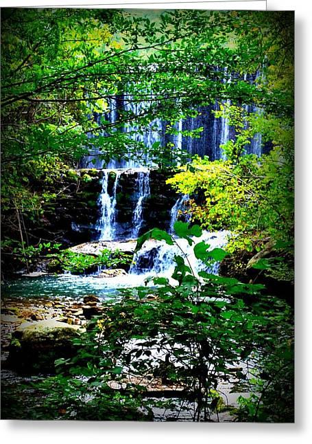 Waterfall Greeting Card by Charles Covington