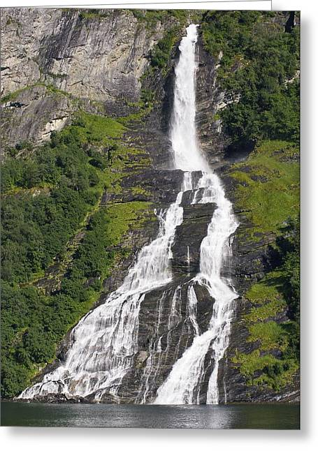 Waterfall In A Fjord, Norway Greeting Card by Dr Juerg Alean