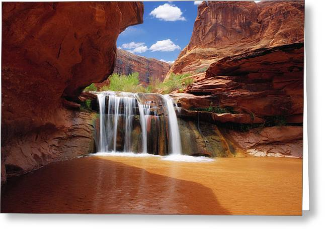 Waterfall In Coyote Gulch Utah Greeting Card