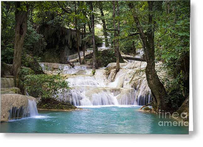 Waterfall In Deep Forest Greeting Card by Setsiri Silapasuwanchai