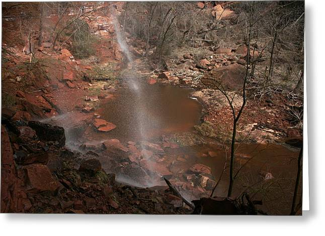 Waterfall In Zion Park Greeting Card