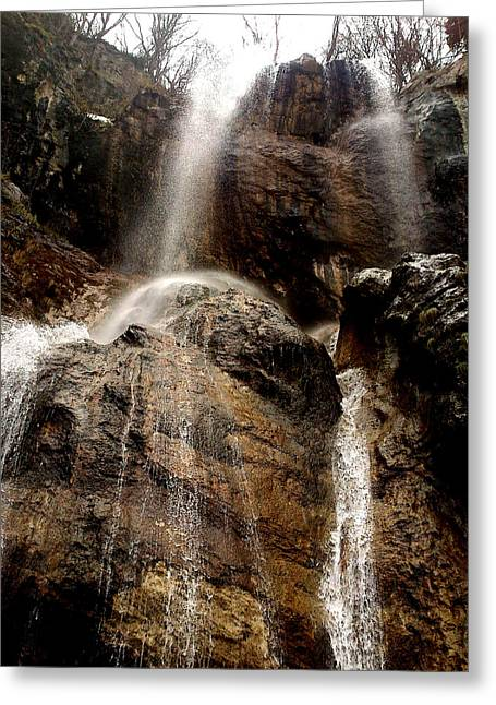 Waterfall Greeting Card by Lucy D