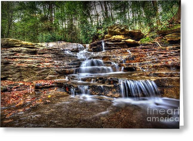 Waterfall On Small Creek Going Into The Big Sandy River Greeting Card by Dan Friend