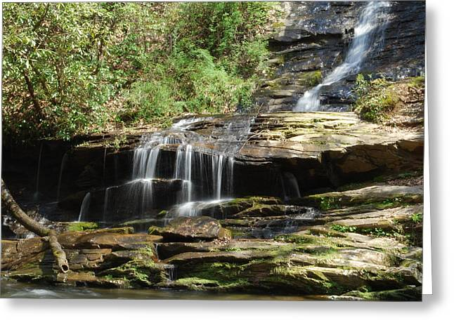 Waterfall Over Rocks Greeting Card by Carrie Munoz