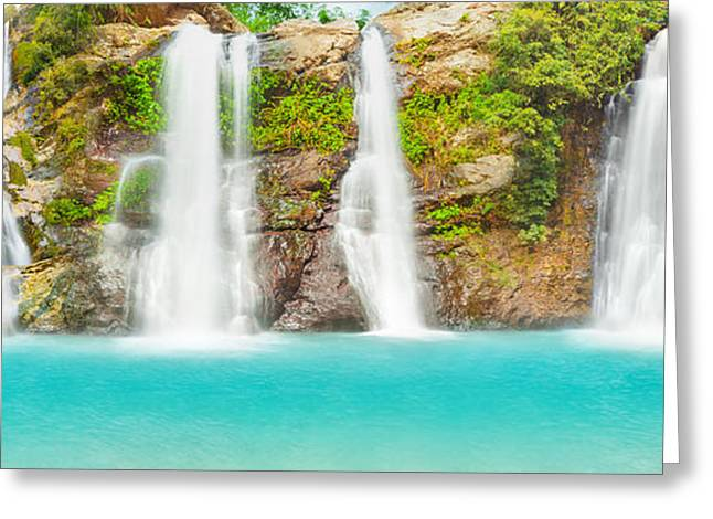 Waterfall Panorama Greeting Card by MotHaiBaPhoto Prints