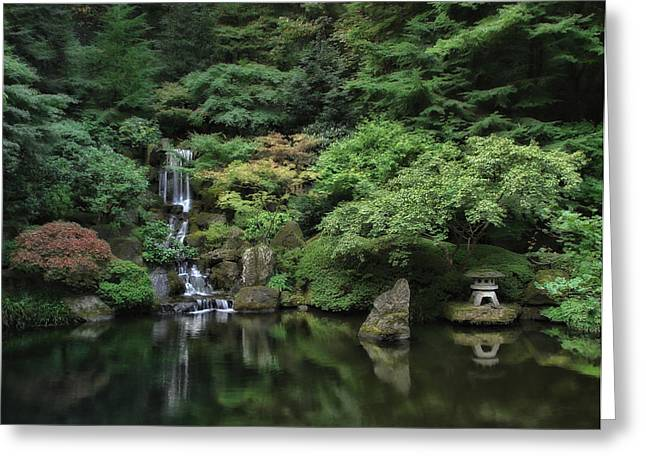 Waterfall - Portland Japanese Garden - Oregon Greeting Card by Daniel Hagerman