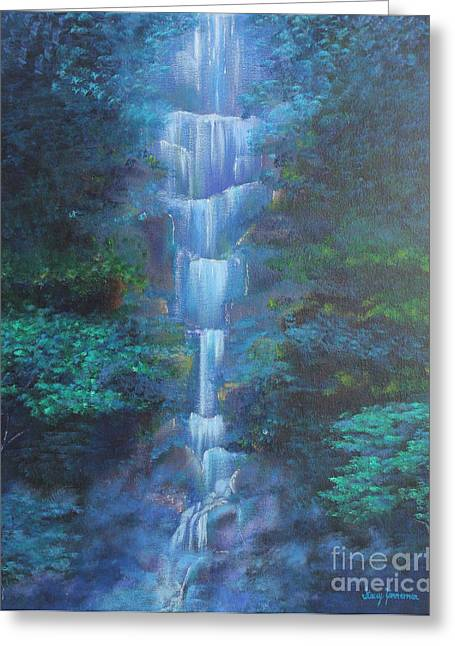 Greeting Card featuring the painting Waterfall Symphony by Stacey Zimmerman