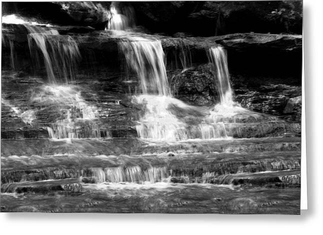 Waterfall Trio At Mcconnells Mill State Park In Black And White Greeting Card