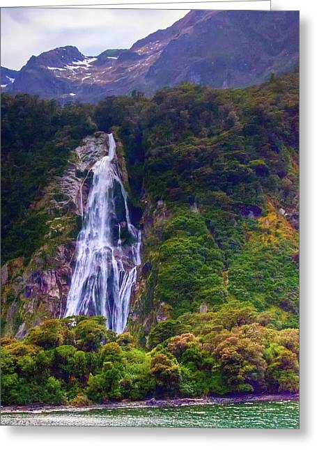 Waterfalls At Milford Sound Greeting Card
