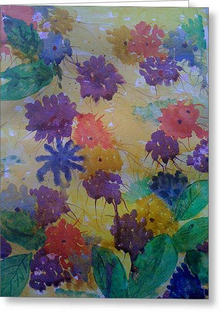 Greeting Card featuring the painting Waterflowers by Judi Goodwin