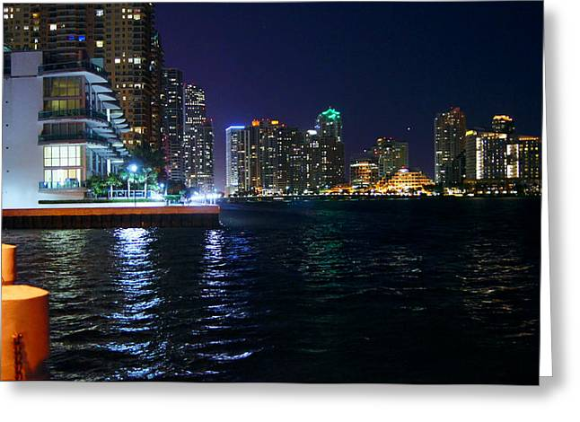 Waterfront By Night Greeting Card by Dieter  Lesche