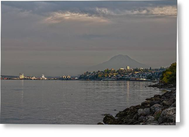 Waterfront Look At Mount Rainier Greeting Card by Barry Jones